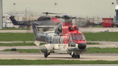 A CHC Scotia Super Puma EC225 at Aberdeen Airport.