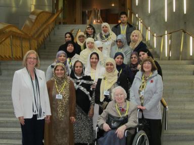 Bushra Iqbal and Elaine Smith MSP at the Scottish Parliament