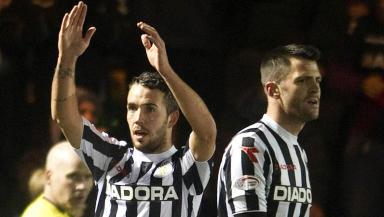 Dougie Imrie celebrates his winner for St Mirren