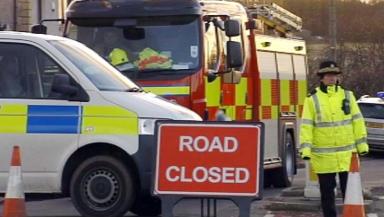 Road closure following gas leak, Clacks Nov 2012