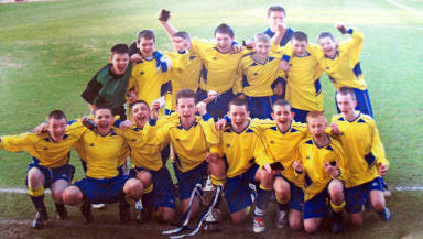 Tony Watt: Celtic striker (front row, second from left) celebrates with St Andrew's, aged 13, at the 2007 Airdrie schools' cup final.