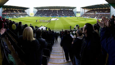 Crowd shot of Easter Road football match December 2012