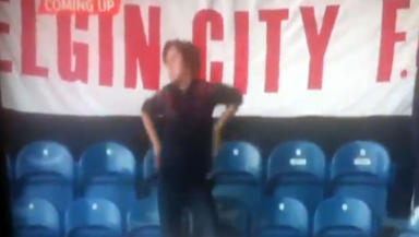 Nairn County supporter Jenny Bird who was caught dancing at Elgin City v Rangers in Scottish Cup on December 2 2012