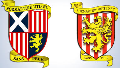 Formartine United's old and new badges.