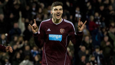 Callum Paterson celebrates after giving Hearts a 2-0 lead.