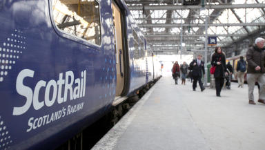 ScotRail train. Firm faces strike action from RMT union.