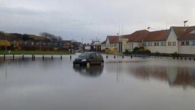 Flooding in Stonehaven on 15 December 2012.