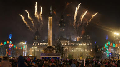 Christmas time: The Christmas lights switch on at George Square kicked off a programme of events in Glasgow.