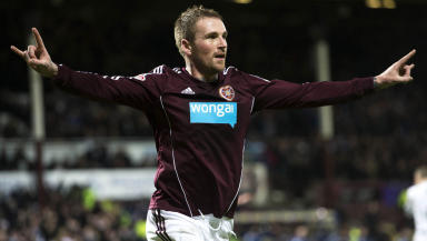 Hearts star Ryan Stevenson celebrates after opening the scoring
