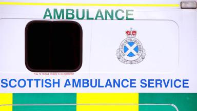 A Scottish Ambulance Service ambulance close up of sign. Quality generic image.