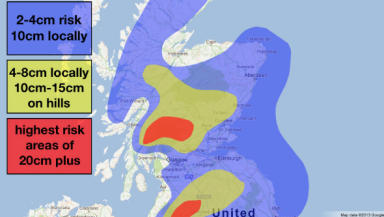 Second snow map by Sean Batty for night of January 24 2013.