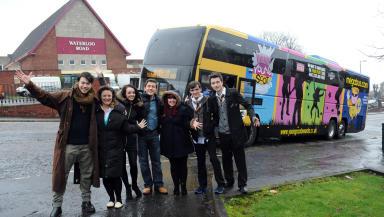 Young Scot Award megabus at set of Waterloo Road - embargoed until Sunday, January 27.