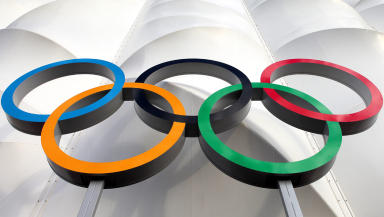 Generic quality shot of Olympic rings in London.