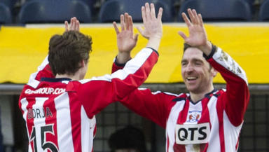Kilmarnock's Borja Perez (left) congratulates Paul Heffernan on putting their side infront.