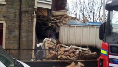Scene of lorry crash on the A78 through Fairlie near Largs, February 2013