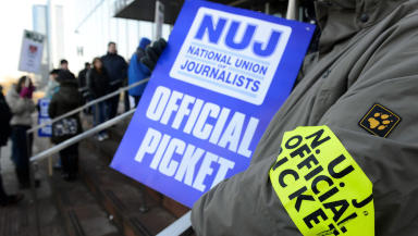 NUJ picket line outside BBC Scotland Pacific Quay Glasgow during industrial action strike February 18 2013