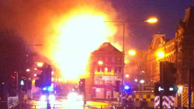 Fire: The blaze started near the Co-op on Monday afternoon.