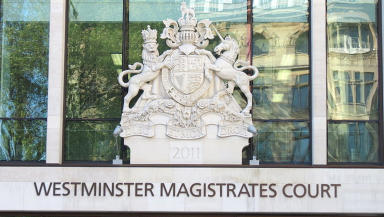 Westminister Magistrates Court where Allan Young appeared accused of killing son Michael Winn.