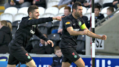 Ledley celebrates scoring at St Mirren Park.