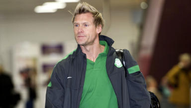 Celtic assistant boss Johan Mjallby at Glasgow Airport.