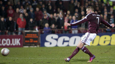 Hearts ace Ryan Stevenson opens the scoring by slotting the ball past Alan Mannus. March 5 2013