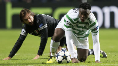 Celtic's Victor Wanyama (right) is challenged by Andrea Pirlo.