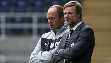 Falkirk manager Steven Pressley (right) with coach Neil MacFarlane.