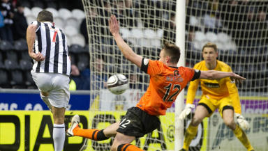 St Mirren's Dougie Imrie (left) tries his luck with a shot at goal
