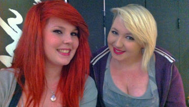 Abigail and Rhiannon queuing for the X Factor Aberdeen auditions