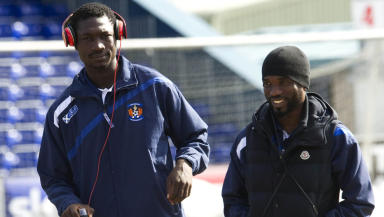 Kilmarnock's new Nigerian signing Gabriel Reuben (left) and fellow team-mate Rabiu Ibrahim.