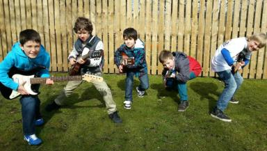 Guitar Festival: Children prepare for the record-breaking Minstrel Walk.