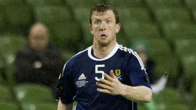 Steven Caldwell in action for Scotland