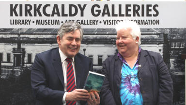 Gordon Brown and Val McDermid at the reopening of the Kirkcaldy Galleries in Fife.