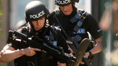 Armed: Specialist officers arrested the suspects.