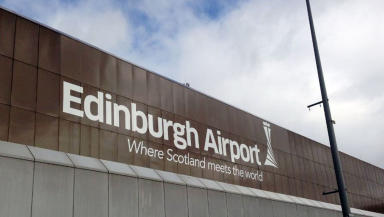 Edinburgh airport logo on airport building June 2013 Quality image