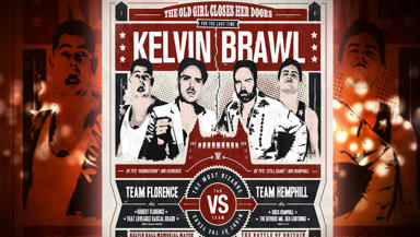 Robert Florence and Greg Hemphill featuring in wrestling match Kelvin Brawl in Glasgow. Scotland Tonight graphic.
