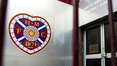 Hearts badge on the exterior of Tynecastle Stadium, June 2013.