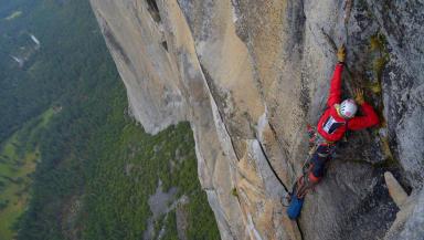 Blind climber Steve Bate on 'El Captain in California. July 2013.