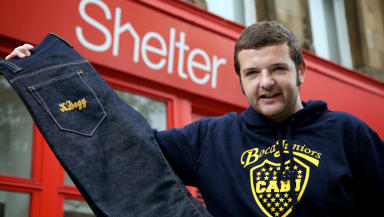 Kevin Bridges donates jeans to homeless charity Shelter for online auction July 22 2103