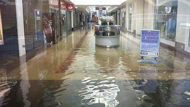 Oak Mall Shopping Centre in Greenock, Inverclyde, flooded during July 2013 downpour.