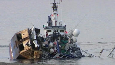 Fishing boat Prospect after running aground in lerwick Shetland