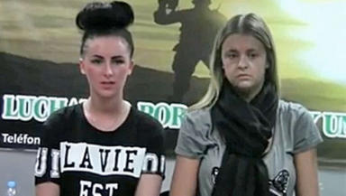 Police interview video of Melissa Reid, 19, of Lenzie, East Dunbartonshire, (on right) and Michaella McCollum Connolly, from Belfast, being questioned over £1.5m drugs bust in Peru.