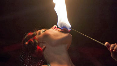 Burlesque dancer Go Go Amy who set off a smoke alarm with her flaming tassels.