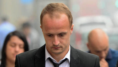 Quality image of Leigh Griffiths outside court.