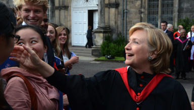 Hillary Clinton at St Andrews University, where she received a doctor of laws on September 13 2013.