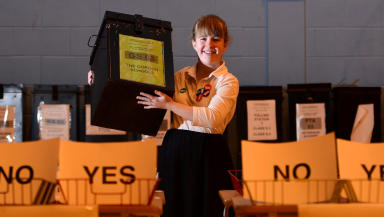 Counting votes at Meldrum Academy mock referendum in Aberdeenshire September 18 2013