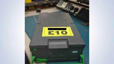 Cash box: Stolen during raid in New Deer.