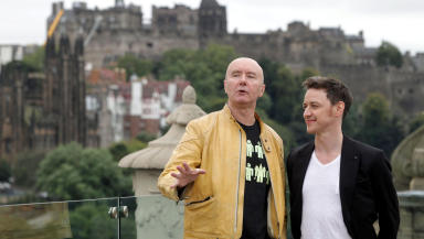 Awards: Author Irvine Welsh (left), pictured with actor James McAvoy, is among the nominees for the Saltire Literary Awards.