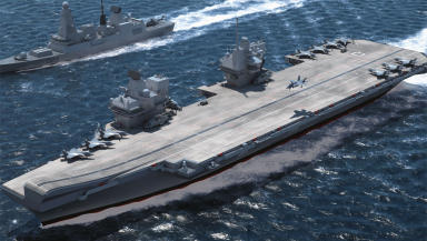 Computer generated image of Queen Elizabeth class aircraft carrier.