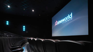 Cinema screen at Cineworld, quality generic.
